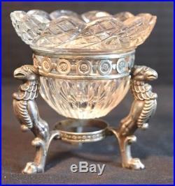 Antique European Silver Cut Crystal Salt Bowl with Griffons