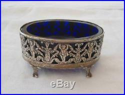 Antique European Sterling Silver Master Salt Cherubs Cobalt Blue Glass Open Dip