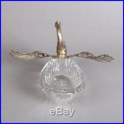 Antique Figural Silver and Cut Crystal Swan Master Salt Cellar, 19th Century