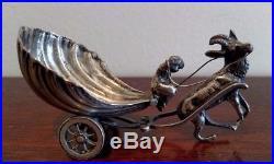 Antique Figural Sterling Silver Salt Cellar, Deer Pulling A Cart