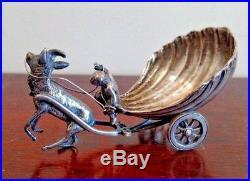 Antique Figural Sterling Silver Salt Cellar, Goat Pulling A Cart W A Putti