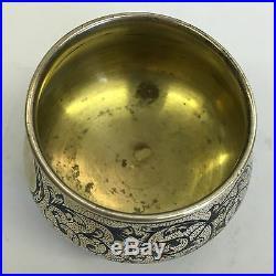 Antique Fine Russian Niello Decorated Solid 84 CK Silver Salt Cellar