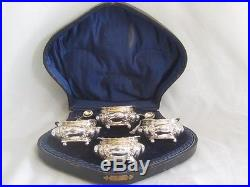Antique Four English Sterling Salt Cellars and Spoons with the Original Box
