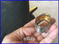 Antique French 19C sterling silver, gold, salt cellar, dish set, spoons Minerva