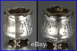 Antique French Art Nouveau Sterling Silver Salt Cellar, Daisies, Eugène Castel