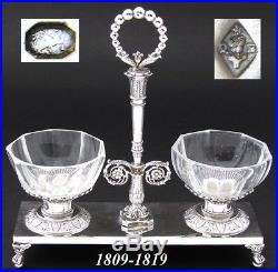 Antique French Napoleonic Era Sterling Silver Double Open Salt, c. 1809-1819