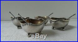 Antique French Open Salts. Sterling Silver 4pc Set. Orig. Box & Spoons