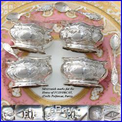 Antique French PUIFORCAT Sterling Silver 4pc Open Salt Set, Orig. Box & Spoons