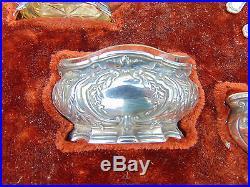 Antique French Set 4 Silver Minerva 950 Vermeil Salt Cellars & Spoons L Coignet