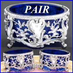Antique French Sterling Silver 2pc Open Salt Pair, Figural Birds, Cobalt Glass