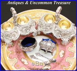 Antique French Sterling Silver 2pc Open Salt Set, Louis XVI Style, Cobalt Glass