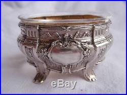 Antique French Sterling Silver, Crystal Salt Cellar, Set Of 4, Louis XV Style