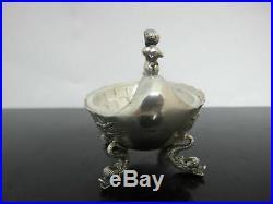 Antique GERMAN 800 Silver Figural Horn Player DOLPHIN Foot Salt Cellar Bowl