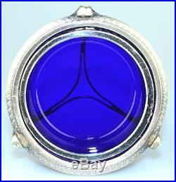 Antique Georgian 950 Sterling Silver Master Salt Cellar Cobalt Blue Liner France