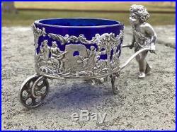 Antique German 800 Silver Figural Wagon & Cherub Salt Cellar By Pforzhelm