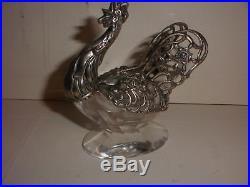 Antique German 835 silver figural rooster open crystal salt cellar hallmark JH
