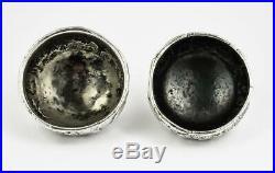 Antique INDIAN SOLID SILVER SALT CELLARS c1900 P. T DUTT