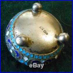 Antique Imperial Russian 84 Silver Cloisonne Enamel Salt Cellar