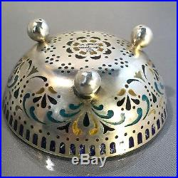 Antique Imperial Russian Plique-a-jour Enameled Silver Salt Cellar By Khlebnikov