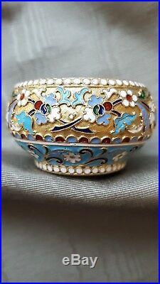 Antique Imperial Russian silver cloisonné enamel salt Vasily Agafonov Moscow