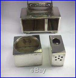 Antique Japanese Sterling Silver Salt Cellar & Pepper Shaker Set Dresser Mirror