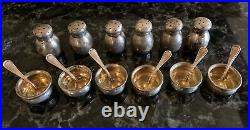 Antique John Hasselbring Sterling Silver Salt Cellars, Salt Spoons & Shakers Set