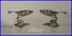 Antique Judaica Fleisher Sterling Silver Dolphin Salts Martin M Fleisher NYC