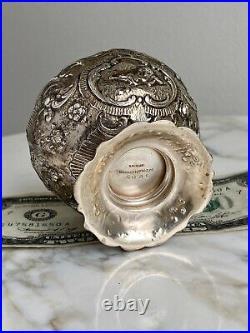 Antique MARSHALL FIELDS Sterling Silver Master SALT CELLAR #5091 Cherubs-97.6g