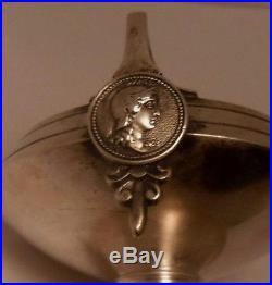 Antique Medallion Figural Coin Silver Sterling Salt Cellar Gorham Face Faces