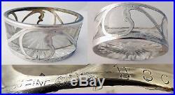 Antique Nouveau Silver overlaid Cut Glass Boxed Set Open Salts Alvin Co (#3197)