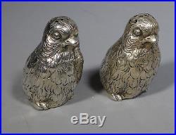 Antique Novelty Dutch Silver Chick Bird Salt And Pepper Cruet Cellars