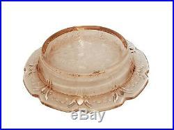 Antique Open Salt Cellar Butter Dish Peach Glass Rogers Smith Co Meriden Silver