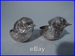 Antique Open Salts Sweet Baby Chicks Pair of Birds Bird Sterling