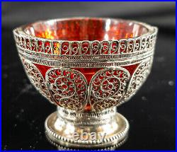 Antique Ottoman Sterling Silver Filigree Salt Cellar Ruby Glass Tughra Mark