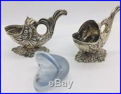 Antique Pair 835 Silver Figural Fish Salt Cellars