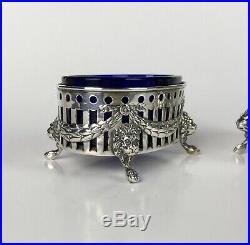 Antique Pair Master Salt Cellars Cobalt Blue Glass & Sterling Silver