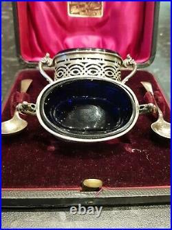 Antique Pair Silver Salt Cruets Cellars with Silver Spoons in Original Case
