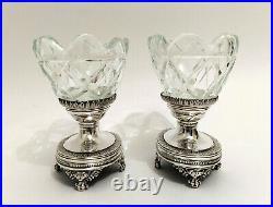 Antique Pair of 833 Silver and Cut Crystal salt cellars, Anvers ca. 1820