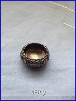 Antique RUSSIAN 88 SILVER ENAMEL Individual Salt Cellar Fedor (Feodor) Ruckert