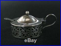Antique Roden Bros Salt Cellar Or Mustard Spoon Silver Sterling 925 Cobalt Glass