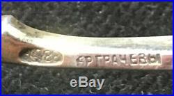 Antique Russian 88 Sterling Silver Guilloche Enamel Salt Cellar With Spoon Grachev