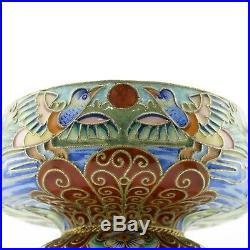 Antique Russian Feodor Ruckert 84 Silver & Shaded Cloisonne Enamel Open Salt
