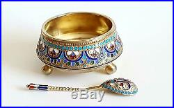 Antique Russian Gilt Silver Enamel Large Salt Cellar & Spoon