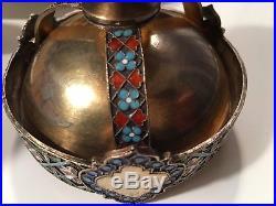 Antique Russian Imperial hallmarked Cloisonne Enamel Salt Cellar Wafer Holder