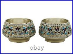 Antique Russian Silver and Polychrome Cloisonné Enamel Salts