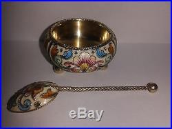 Antique Russian silver cloisonne shaded enamel salt cellar spoon Feodor Ruckert