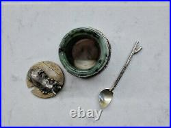 Antique Russian silver gilt and nephrite salt cellar with spoon
