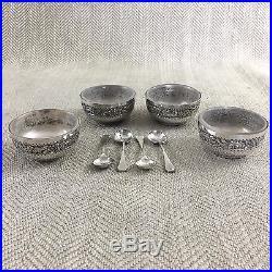 Antique Salt Cellar Bowls Open Table Salts Set of 4 Cased Silver Plated Cruet