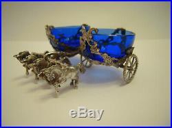 Antique Silver SLEIGH HORSE SALT CELLAR & TWO SPOONS -cobalt blue glass