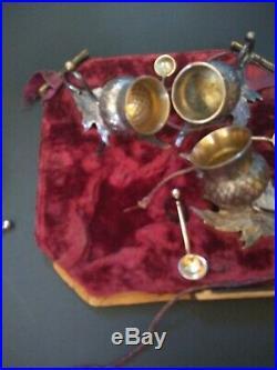 Antique Silver-plated Gold-Washed Open Salt Dip Cellars Set of 4 velvet box